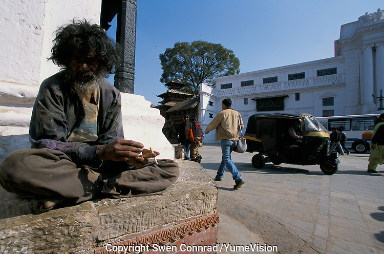 A holy homeless at Durbar square in Kathmandu City, Nepal