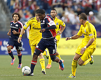 New England Revolution forward Jose Moreno (9) dribbles. In a Major League Soccer (MLS) match, the New England Revolution tied the Columbus Crew, 0-0, at Gillette Stadium on June 16, 2012.