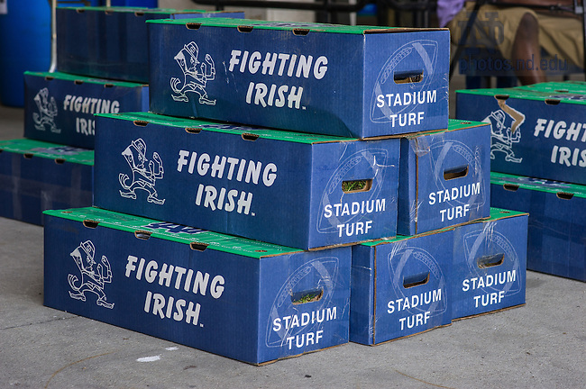 May 21, 2014; Pieces of the grass field boxed up for sale during the conversion to field turf in Notre Dame Stadium, summer 2014.<br /> <br /> Photo by Matt Cashore/University of Notre Dame
