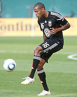 Jordan Graye #16 of D.C. United makes a pass during an MLS match against Chivas USA at RFK Stadium, on May 29 2010 in Washington DC. United won 3-2.