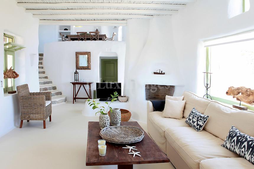 traditional cycladic living room with mezzanine