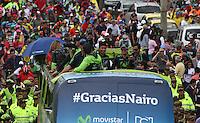 Homenaje a Nairo Quintana campeón de la vuelta España  en Bogotá,18-09-2016