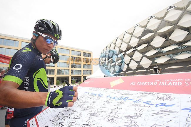 Nairo Quintana (COL) Movistar Team at sign on before the start of Stage 3 Al Maryah Island Stage of the 2017 Abu Dhabi Tour, starting at Al Ain and running 186km to the mountain top finish at Jebel Hafeet, Abu Dhabi. 25th February 2017<br /> Picture: ANSA/Claudio Peri | Newsfile<br /> <br /> <br /> All photos usage must carry mandatory copyright credit (&copy; Newsfile | ANSA)