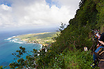 View of the Kaulapapa Peninsula from the guided mule ride from Kaulapapa National Park to the top of the sea cliffs on the island of Molokai, Hawaii, USA