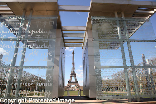 Wall for Peace Memorial and the Eiffel Tower, Paris