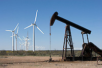 Renewable and NOT - Electric Windfarms and oil well, near McCamey, Texas