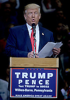 WILKES-BARR, PA - OCTOBER 10: Republican Presidential candidate Donald Trump speaks during a campaign appearance at the Mohegan Sun Arena in Wilkes-Barre, Pa on October 10, 2016. Credit: Dennis Van Tine/MediaPunch