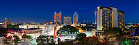 We captured this panorama of the San Antonio Skyline which includes the area along the riverwalk with the Tower of the Americas, light from the Alamo Dome, Tourch of Freedom and many other city business.  The hotels in downtown are some ot the tallest buildings in the area the Marriott, the Hyatt, and the Hilton all tower  above to give the city a beautiful skyline near the riverwalk.<br /> Watermark will not appear on image