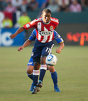 Chivas USA midfielder Michael Lahoud (11) moves the ball up the field during the first half of the game between Chivas USA and the Kansas City Wizards at the Home Depot Center in Carson, CA, on September 19, 2010. Final score Chivas USA 0, Kansas City Wizards 2.
