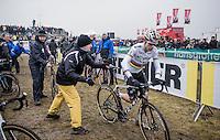 Wout Van Aert (BEL/Crelan-Willems) getting handed a fresh/clean bike in the pit zone<br /> <br /> elite men's race<br /> CX Superprestige Noordzeecross <br /> Middelkerke / Belgium 2017