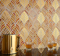 Margot a jewel glass mosaic, is shown in Gold Glass and Tiger's Eye.