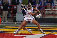 College Park, MD - February 25, 2017: Maryland Terrapins Jen Giles (5) fights for the ball during game between North Carolina and Maryland at  Capital One Field at Maryland Stadium in College Park, MD.  (Photo by Elliott Brown/Media Images International)
