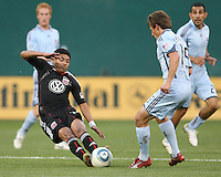 Cristian Castillo #12 of D.C. United goes in for the ball against Wells Thompson #15 of the Colorado Rapids during an MLS match on May 15 2010, at RFK Stadium in Washington D.C. Colorado won 1-0.