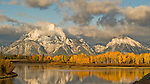 The Snake River, with Mount Moran in the background, as seen on the morning of October 1, 2007, Grand Teton National Park, Wyoming, USA.  This particular spot is called Oxbow Bend and is a favorite subject for photographers in the park.  Photo by Gus Curtis.