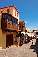 Shops in the Turkish Bizaar quater of Rhodes, Greece, UNESCO World Heritage Site