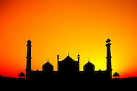 Silhouette of Jama Masjid, New Delhi, India.