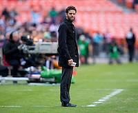 D.C. United head coach Ben Olsen watches his team during a Major League Soccer game at RFK Stadium in Washington, DC. D.C. United vs. Houston Dynamo, 2-1.