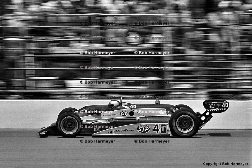 INDIANAPOLIS, IN - MAY 24: Mario Andretti drives his Wildcat VIII 03/Cosworth to second place in the Indianapolis 500 on May 24, 1981, at the Indianapolis Motor Speedway in Indianapolis, Indiana.