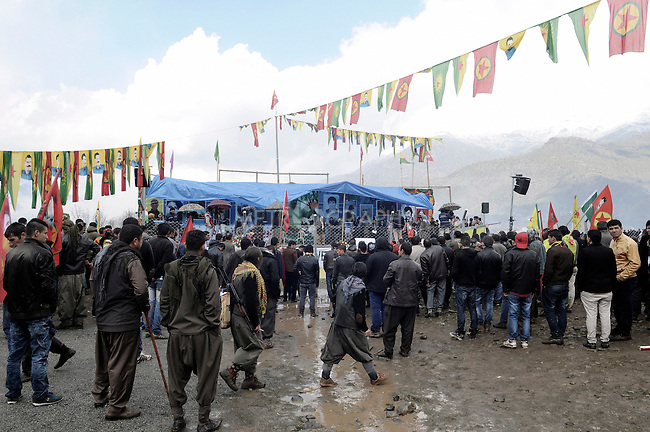 21/03/15 -- Qandil, Iraq -- PKK flags are seen above the main stage prepared for Newroz celebration