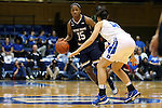01 February 2016: Notre Dame's Lindsay Allen (15) and Duke's Faith Suggs (14). The Duke University Blue Devils hosted the University of Notre Dame Fighting Irish at Cameron Indoor Stadium in Durham, North Carolina in a 2015-16 NCAA Division I Women's Basketball game. Notre Dame won the game 68-61.