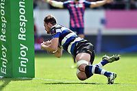 Elliott Stooke of Bath Rugby dives for the try-line. European Rugby Challenge Cup Semi Final, between Stade Francais and Bath Rugby on April 23, 2017 at the Stade Jean-Bouin in Paris, France. Photo by: Patrick Khachfe / Onside Images