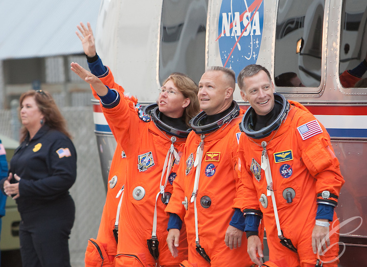 The crew of Space Shuttle Atlantis leaves for the launch pad at Kennedy Space Center on Friday, July 8, 2011.  Atlantis' mission is the final one of the program's 30 year history.