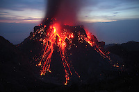 Rerombola lava dome of Paluweh Volcano during eruption in 2012, Flores, Indonesia.