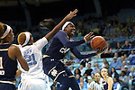 22 January 2017: Notre Dame's Arike Ogunbowale (24) and North Carolina's Alyssa Okoene (21). The University of North Carolina Tar Heels hosted the University of Notre Dame Fighting Irish at Carmichael Arena in Chapel Hill, North Carolina in a 2016-17 NCAA Division I Women's Basketball game. Notre Dame won the game 77-55