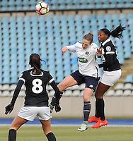 20170129 - LILLE , FRANCE : LOSC's Maus Coutereels (M) with Juvisy's Kadidiatou Diani (R) and Clara Mateo (L) pictured during women soccer game between the women teams of Lille OSC and FFC Juvisy Essonne  during the 1/16 final for the 2017 French Cup at stade Lille Metropole , Sunday 29th of January ,  PHOTO Dirk Vuylsteke | Sportpix.Be