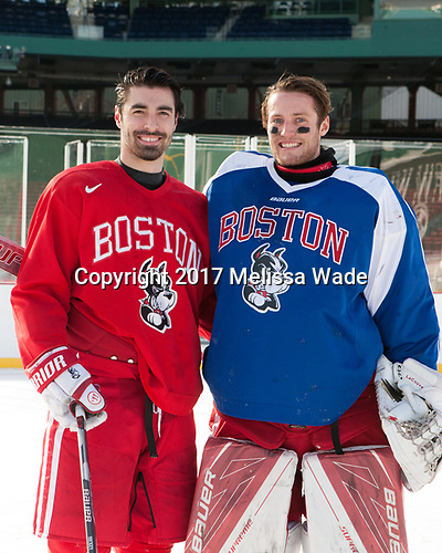 Brandon Hickey (BU - 4), Connor Lacouvee (BU - 30) - The Boston University Terriers practiced on the rink at Fenway Park on Friday, January 6, 2017.The Boston University Terriers practiced on the rink at Fenway Park on Friday, January 6, 2017.