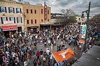 The sights and sounds of SXSW are enormous from 6th Street as thousands of revelers fill the streets during the annual SXSW 2014 Music Film Interactive Festival in downtown Austin, Texas.