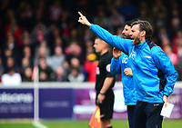 Lincoln City's assistant manager Nicky Cowley shouts instructions to his team from the dug-out<br /> <br /> Photographer Andrew Vaughan/CameraSport<br /> <br /> Vanarama National League - Lincoln City v Macclesfield Town - Saturday 22nd April 2017 - Sincil Bank - Lincoln<br /> <br /> World Copyright &copy; 2017 CameraSport. All rights reserved. 43 Linden Ave. Countesthorpe. Leicester. England. LE8 5PG - Tel: +44 (0) 116 277 4147 - admin@camerasport.com - www.camerasport.com
