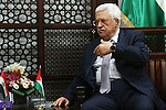 Palestinian President Mahmoud Abbas meets with Egyptian Foreign Minister Sameh Shoukry during a visit to the Palestinian authority headquarters in the West Bank city of Ramallah on June 29, 2016. Photo by Shadi Hatem