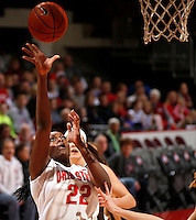 Ohio State Buckeyes center Darryce Moore (22) goes up for two during the first half of the NCAA women's basketball game against Lehigh Mountain Hawks at Value City Arena on Wednesday, November 27, 2013. (Columbus Dispatch photo by Jonathan Quilter)