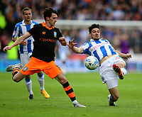 Sheffield Wednesday's Kieran Lee is tackled by Huddersfield Town's Christopher Schindler<br /> <br /> Photographer Chris Vaughan/CameraSport<br /> <br /> The EFL Sky Bet Championship Play-Off Semi Final First Leg - Huddersfield Town v Sheffield Wednesday - Saturday 13th May 2017 - The John Smith's Stadium - Huddersfield<br /> <br /> World Copyright &copy; 2017 CameraSport. All rights reserved. 43 Linden Ave. Countesthorpe. Leicester. England. LE8 5PG - Tel: +44 (0) 116 277 4147 - admin@camerasport.com - www.camerasport.com