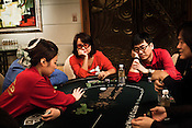 Players seen on the poker table at the Galaxy Macau Hotel in Macau, China.