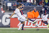 Foxborough, Massachusetts - October 1, 2016:  The New England Revolution (blue and white) beat Sporting Kansas City  (white) 3-1 in a Major League Soccer (MLS) match at Gillette Stadium.