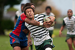 Tim Nanai-Williams is tackled by Samisoni Halanukonuka. Counties Manukau Premier Club Rugby game between Manurewa and Ardmore Marist played at Mountfort Park, Manurewa on Saturday June 19th 2010..Manurewa won the game 27 - 10 after leading 15 - 5 at halftime.