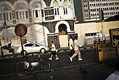 Joggers and morning walkers are seen outside the Taj Mahal Hotel, one of the sites of the 2008 terrorist attacks, in Mumbai, India. Photograph: Sanjit Das