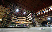 BNPS.co.uk (01202 558833)<br /> Pic: PhilYeomans/BNPS<br /> <br /> Your starter for 10 - Where is the first opera house to be built in Britain in over 20 years about to open its doors?<br /> <br /> If your answer was West Horsley Place in Surrey - the grand country estate inherited out-of-the blue by former University Challenge host Bamber Gascoigne - then you would be on your three bonus questions by now.<br /> <br /> The impressive horse-shoe shaped building is nearing completion in a wooded area of the 350 acre estate following a whirlwind development costing &pound;10m.<br /> <br /> The Theatre in the Woods, which will have a capacity for 700 opera buffs spread over four tiers, is the new home for the prestigious Grange Park Opera.<br /> <br /> The building, a scaled-down version of the historic La Scala opera house in Milan, will open on June 8 with a performance of Puccini's Tosca.