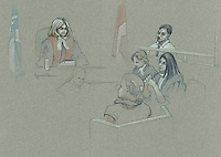 FILE IMAGE -  Nikolas Stefanatos comparution at Longueuil Justice Hall, February 18, 2013.<br />  <br /> Nikolas Stefanatos,  who sprayed acid on his ex-girlfriend, Tanya St-Arnauld, has pleaded guilty to aggravated assault.<br /> <br /> Drawing : Agence Quebec Presse - Atalante