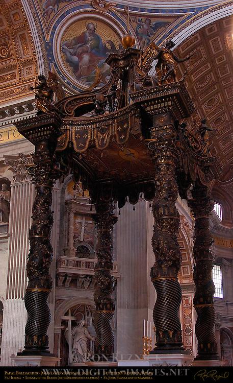 Bernini Baldachino Baldacchino GianLorenzo Bernini world's largest bronze structure Gilded Bronze Canopy Solomonic Columns Angels and Cherubs Main Crossing St Peter's Basilica Rome