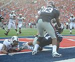 Ole Miss' Zack Stoudt (8) throws a touchdown pass to Ole Miss' Jamal Mosley (17) at Vaught-Hemingway Stadium in Oxford, Miss. on Saturday, September 10, 2011. Ole Miss won 42-24.