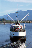 MV Lady Rose (launched 1937), a Heritage Passenger and Cargo Vessel traveling in Alberni Inlet from Barkley Sound to Port Alberni, BC, Vancouver Island, British Columbia, Canada - The Lady Rose is now retired.