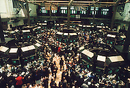 Interior of the New York Stock Exchange on Wall Street the day after Black Monday, when stock markets around the world crashed.