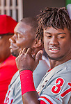 23 May 2015: Philadelphia Phillies outfielder Odubel Herrera sits in the dugout during a game against the Washington Nationals at Nationals Park in Washington, DC. The Phillies defeated the Nationals 8-1 in the second game of their 3-game weekend series. Mandatory Credit: Ed Wolfstein Photo *** RAW (NEF) Image File Available ***