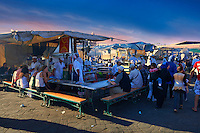 Food stalls in the Jemaa el-Fnaa square in  Marrakech, Morocco