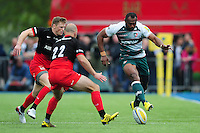 Vereniki Goneva of Leicester Tigers puts boot to ball. Aviva Premiership semi final, between Saracens and Leicester Tigers on May 21, 2016 at Allianz Park in London, England. Photo by: Patrick Khachfe / JMP