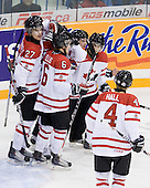 Alex Pietrangelo (Canada - 27), ?, Ryan Ellis (Canada - 6), ?, Taylor Hall (Canada - 4) - Team Canada defeated Team Slovakia 8-2 on Tuesday, December 29, 2009, at the Credit Union Centre in Saskatoon, Saskatchewan, during the 2010 World Juniors tournament.