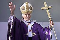 Pope Benedict XVI celebrates mass  during his visit at the parish of San Giovanni Battista de La Salle, in the Rome.March 4, 2012